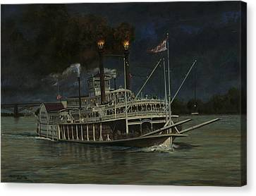 Kate Adams Steamboat Night Canvas Print by Don  Langeneckert