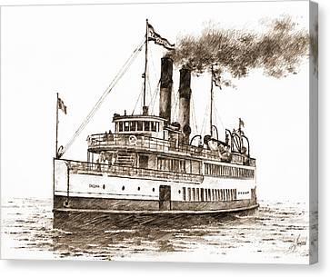 Steamship Tacoma Sepia Canvas Print