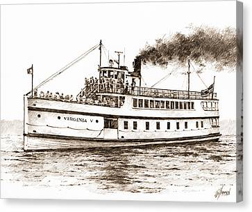 Steamship Virginia V Sepia Canvas Print