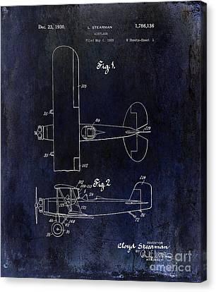 Stearman Canvas Print - 1929 Stearman Patent Drawing Blue by Jon Neidert