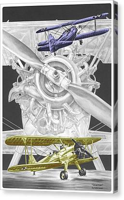 Canvas Print featuring the drawing Stearman - Vintage Biplane Aviation Art With Color by Kelli Swan