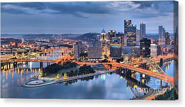 Steel City Glow Canvas Print by Adam Jewell