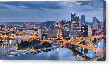 Steel City Panorama Canvas Print by Adam Jewell