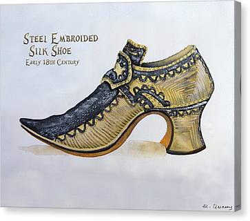 Steel Embroidered Silk Shoe - Early 18th Century Canvas Print by Mary Quarry