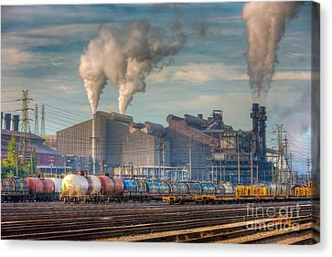 Steel Mill And Freight Yard I Canvas Print