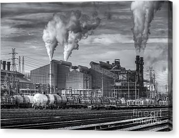 Steel Mill And Freight Yard II Canvas Print by Clarence Holmes