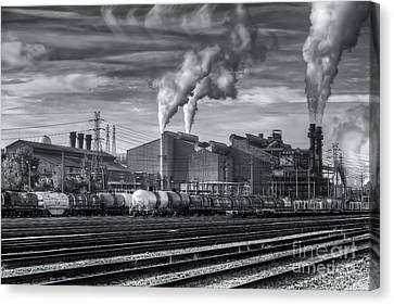 Steel Mill And Freight Yard Iv Canvas Print by Clarence Holmes