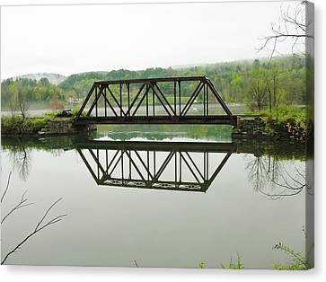 Canvas Print featuring the photograph Vermont Steel Railroad Trestle On A Calm  Misty Morning by Sherman Perry