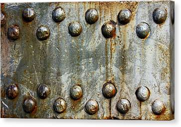 Steel Rivets With Rust Minimalist Steampunk  Canvas Print by Movie Poster Prints