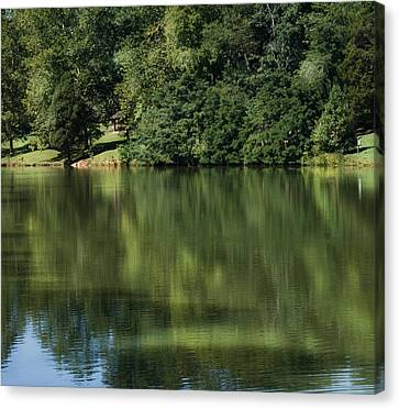 Steele Creek Park Reflections Canvas Print by Denise Beverly