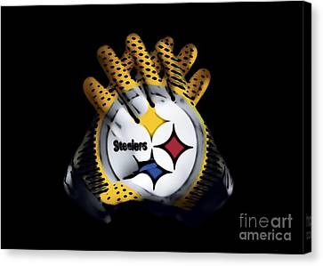 Steelers Gloves Canvas Print