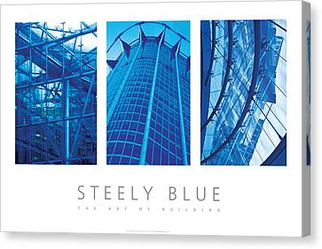 Canvas Print featuring the digital art Steely Blue The Art Of Building Poster by David Davies