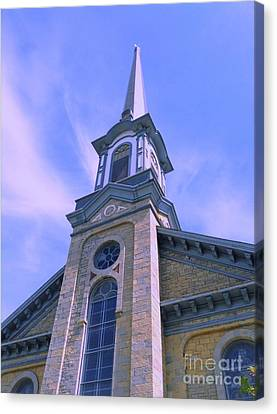 Canvas Print featuring the photograph Steeple Church Arch Windows  1 by Becky Lupe