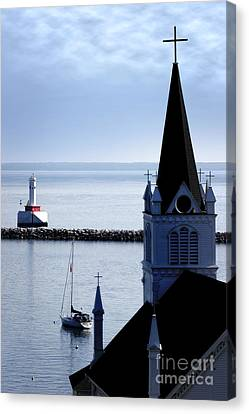 Steeple On Lake Huron Canvas Print by Lincoln Rogers