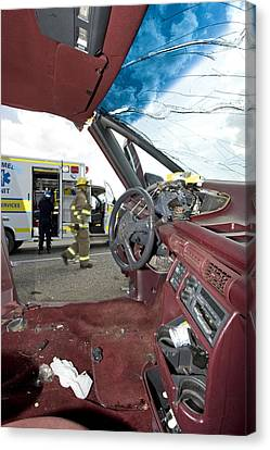 Steering Wheel Damage From Car Crash Canvas Print by Kevin Link