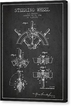 Steering Wheel Patent Drawing From 1944  - Dark Canvas Print by Aged Pixel