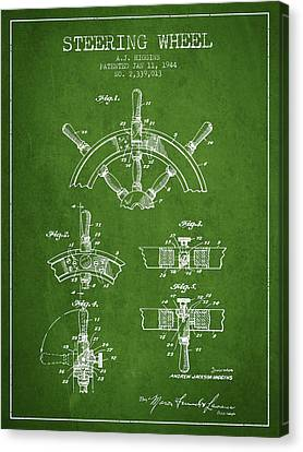 Steering Wheel Patent Drawing From 1944  - Green Canvas Print by Aged Pixel