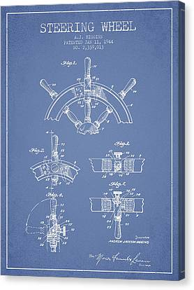 Steering Wheel Patent Drawing From 1944  - Light Blue Canvas Print by Aged Pixel