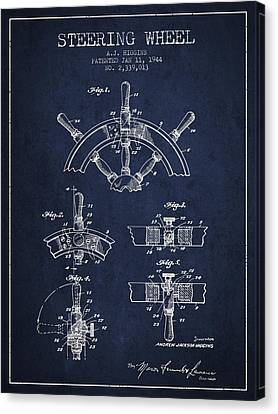 Steering Wheel Patent Drawing From 1944  - Navy Blue Canvas Print by Aged Pixel