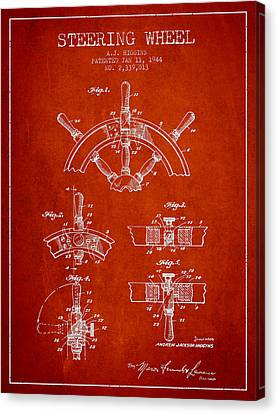 Steering Wheel Patent Drawing From 1944  - Red Canvas Print by Aged Pixel