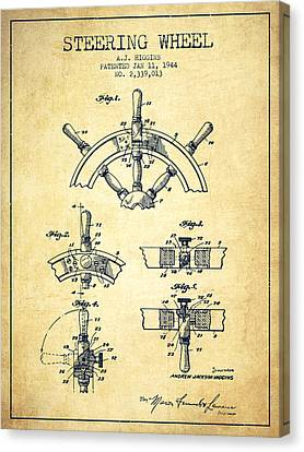 Steering Wheel Patent Drawing From 1944  - Vintage Canvas Print by Aged Pixel