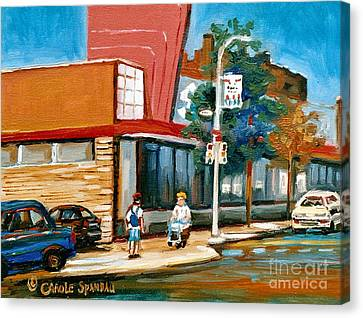 Steinberg's  On Van Horne Street Outremont Montreal Landmarks Canvas Print by Carole Spandau