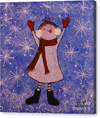 Canvas Print featuring the painting Stella And Snowflake Kisses by Jane Chesnut