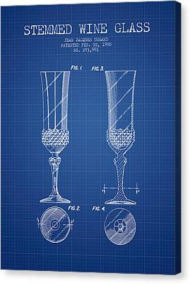 Stemmed Wine Glass Patent From 1988 - Blueprint Canvas Print by Aged Pixel