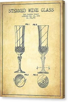 Stemmed Wine Glass Patent From 1988 - Vintage Canvas Print by Aged Pixel