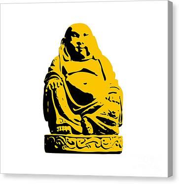 Stencil Buddha Yellow Canvas Print by Pixel Chimp