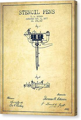 Stencil Pen Patent From 1877 - Vintage Canvas Print
