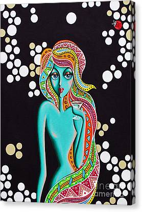 Canvas Print featuring the painting Stephanie Groovy Chick Detail by Joseph Sonday
