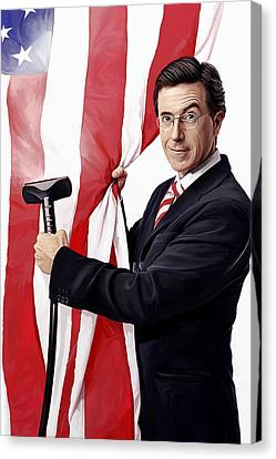 Canvas Print featuring the painting Stephen Colbert Artwork by Sheraz A