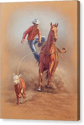 Rodeo Canvas Print - Steppin' Down At Red Lodge by Paul Krapf