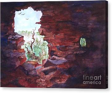 Verde Valley Canvas Print - Stepping Back In Time And Looking Out by Ellen Levinson