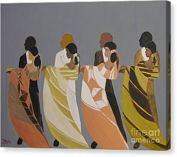 Canvas Print featuring the painting Stepping by Barbara Hayes