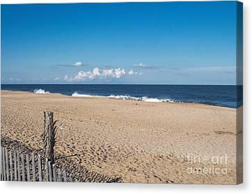 Stepping Onto The Beach Canvas Print by Arlene Carmel