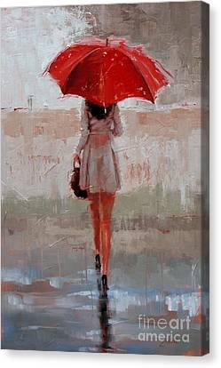 Rainy Day Canvas Print - Stepping Out by Laura Lee Zanghetti