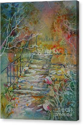 Canvas Print featuring the painting Steps And Tulips by Mary Haley-Rocks