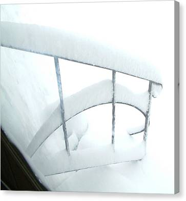 Steps Covered In Snow Canvas Print by Mike McCool