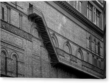 Brick Schools Canvas Print - Steps On 7th Avenue  - New York by Marianna Mills
