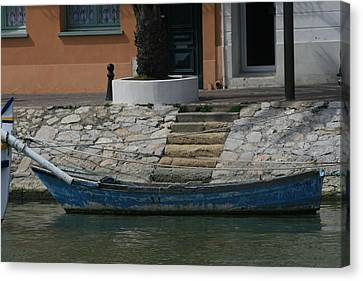 Steps To Blue Boat Canvas Print