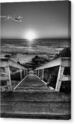 La Jolla Art Canvas Print - Steps To The Sun  Black And White by Peter Tellone