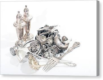Sterling Silver Bracelet Canvas Print - Sterling Silver Scrap by Gunter Nezhoda