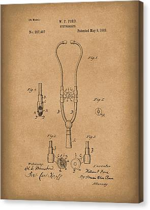 Stethoscope 1882 Patent Art Brown Canvas Print
