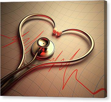 Stethoscope In Heart Shape Canvas Print by Ktsdesign
