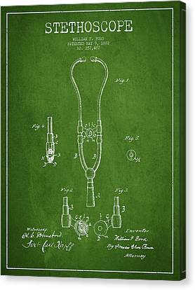 Stethoscope Patent Drawing From 1882 - Green Canvas Print