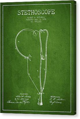 Stethoscope Patent Drawing From 1896- Green Canvas Print
