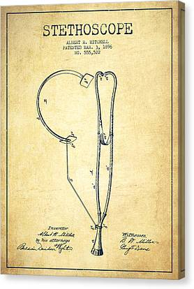 Stethoscope Patent Drawing From 1896- Vintage Canvas Print