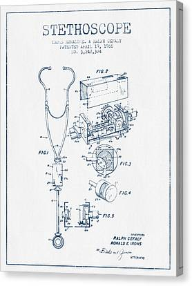 Stethoscope Patent Drawing From 1966 - Blue Ink Canvas Print